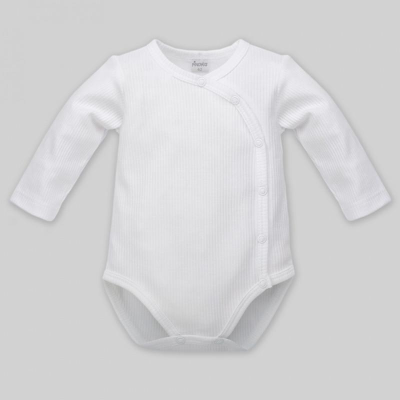 Body de bumbac cu mâneci lungi pentru bebeluș - unisex, alb  44497