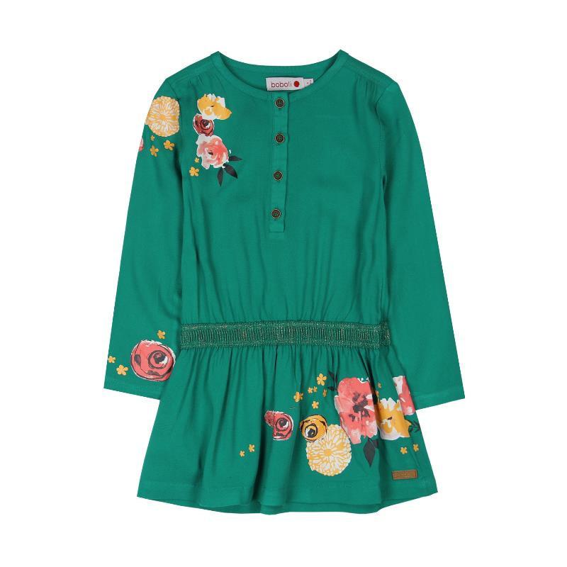 Rochie cu mânecă lungă cu imprimeu floral, verde  480