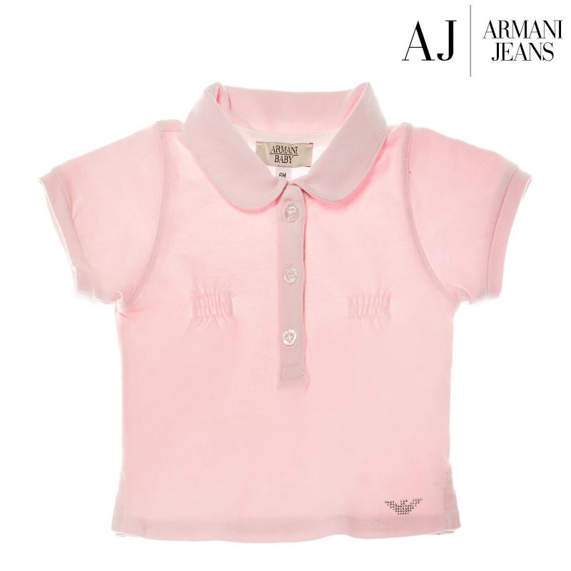 Bluză de bumbac de culoare roz, cu mânecă scurtă pentru fetițe  50595