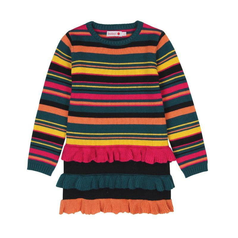 Rochie tricotată în dungi multicolore  516