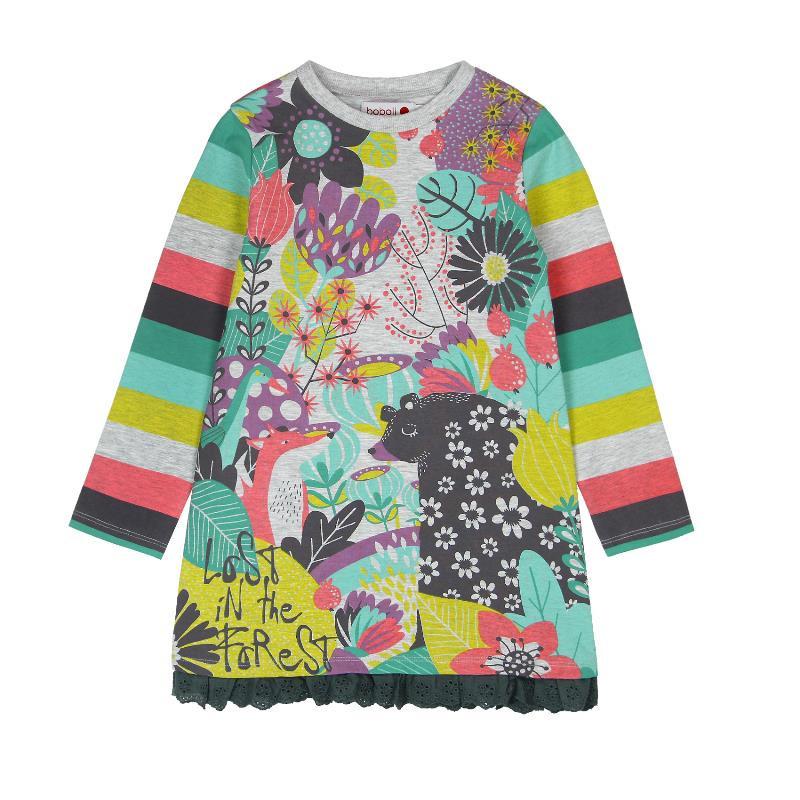 Rochie cu mâneci lungi și dungi multicolore și imprimeu floral  540