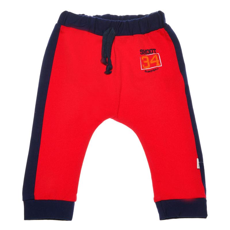 Pantaloni cu margini albastru închis și un imprimeu pentru băieți  54597