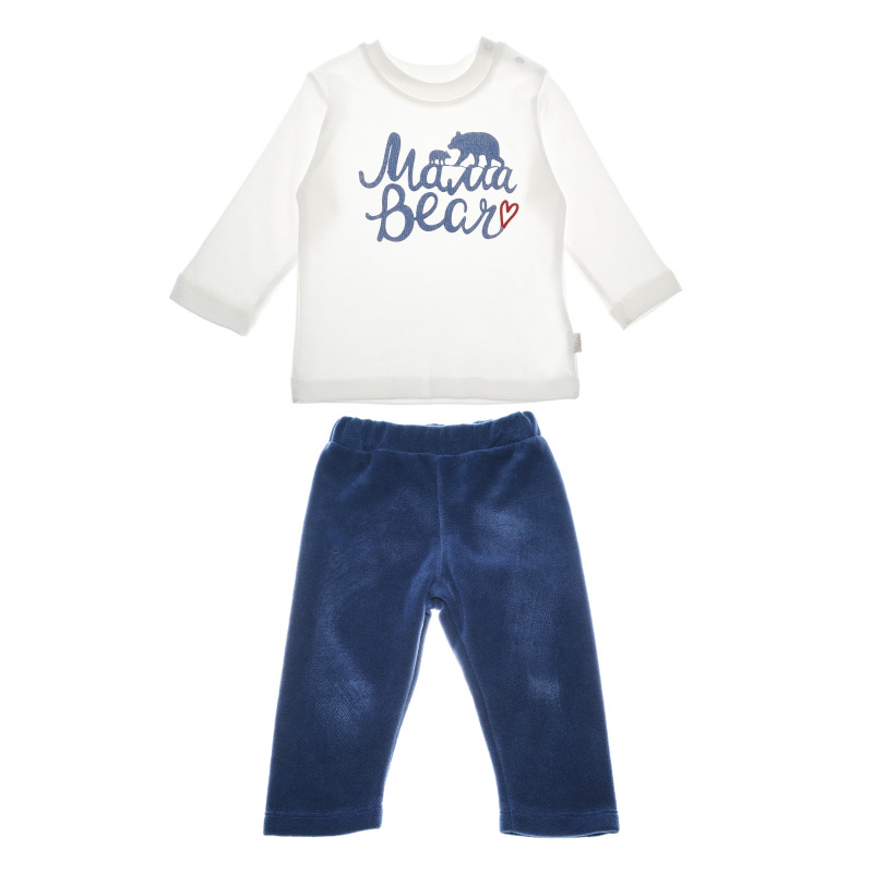 Set de pantaloni de pluș și un imprimeu de urs pentru băieți  54875