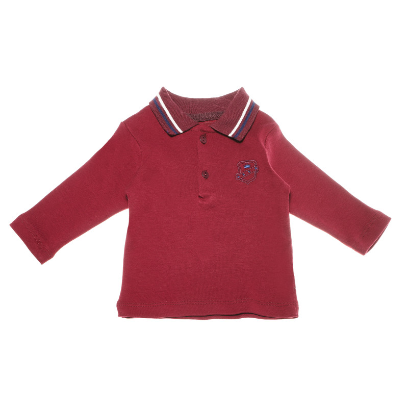 Bluză de bumbac în roșu cu mâneci lungi și guler pentru băieți  54896