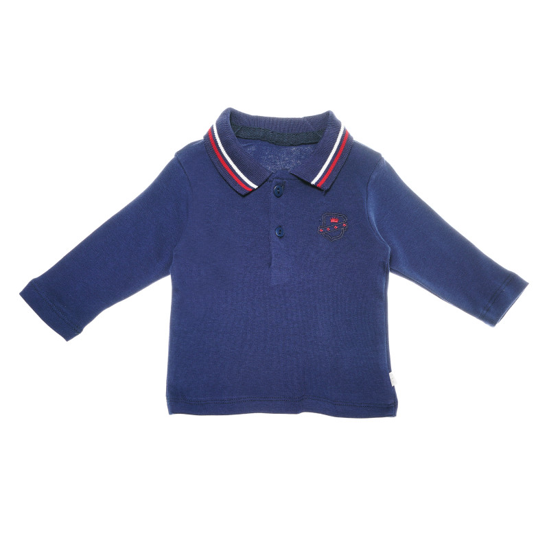 Bluză de bumbac albastru închis, cu mâneci lungi și guler pentru băieți  54900
