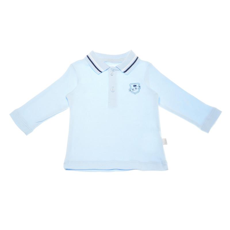 Bluză de bumbac albastru deschis, cu mâneci lungi și guler pentru băieți  54904