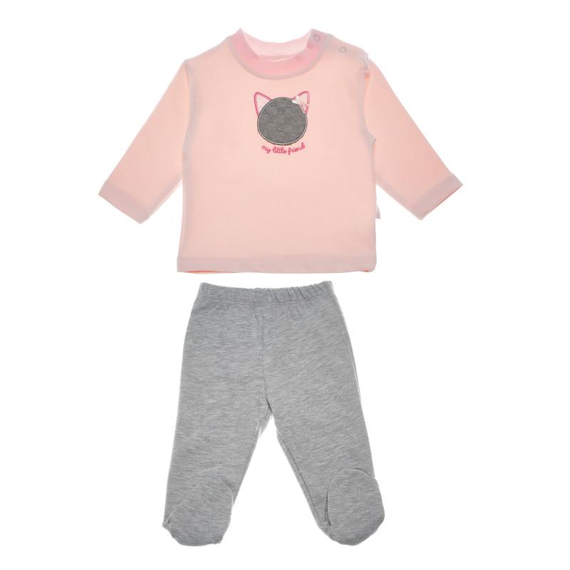 Set de bluză cu aplicație pisoi pentru fete  54922