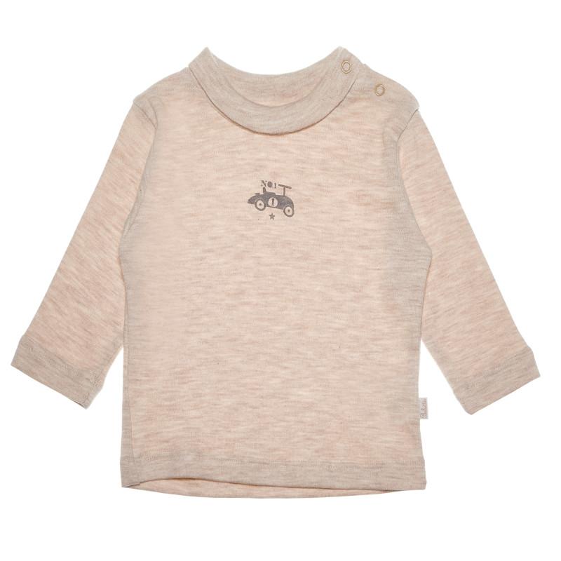 Bluză din bumbac bej cu mâneci lungi și un imprimeu mic pentru băieți  55090