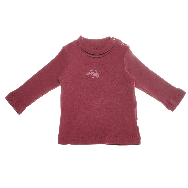 Bluză de bumbac cu mâneci lungi și un imprimeu mic pentru băieți, de culoare roșie  55093