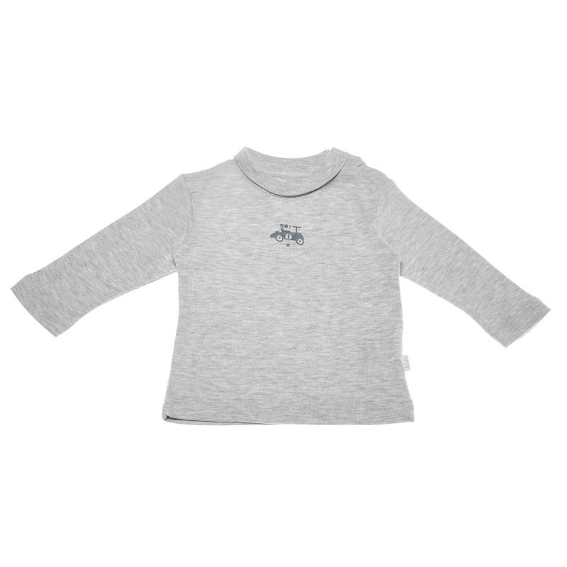 Bluză de bumbac cu mâneci lungi și un imprimeu mic pentru băieți, gri  55097
