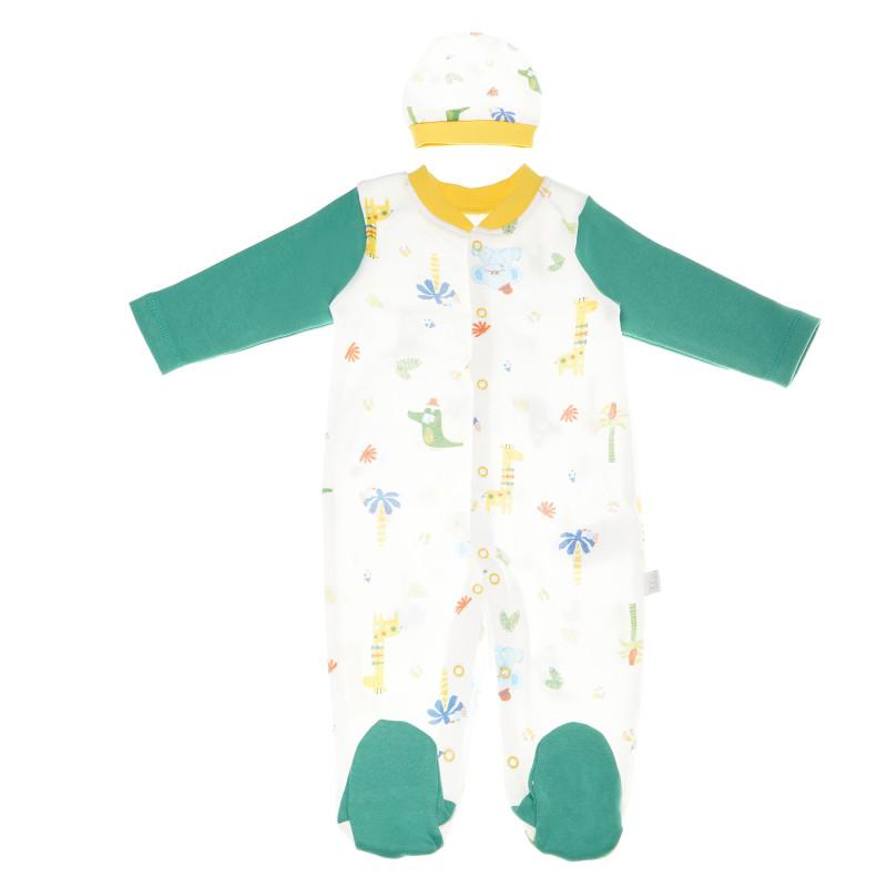 Salopete din bumbac cu căciuliță pentru copii, verde  55115