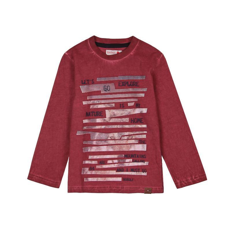 Bluză din bumbac cu mâneci lungi vișinie cu imprimeu pentru băieți  556