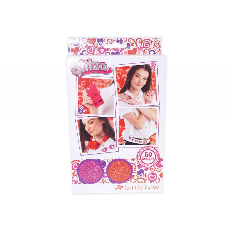 Set de sclipici - 2 culori și 50 de modele de inimă  6033