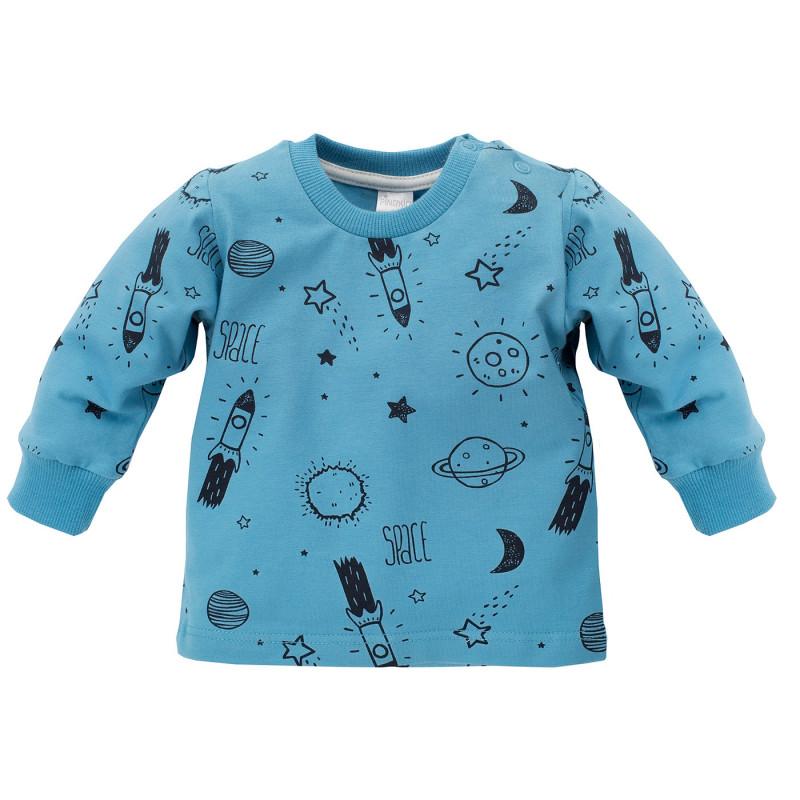 Bluză din bumbac albastru cu mâneci lungi și imprimeu pentru un băiat  696