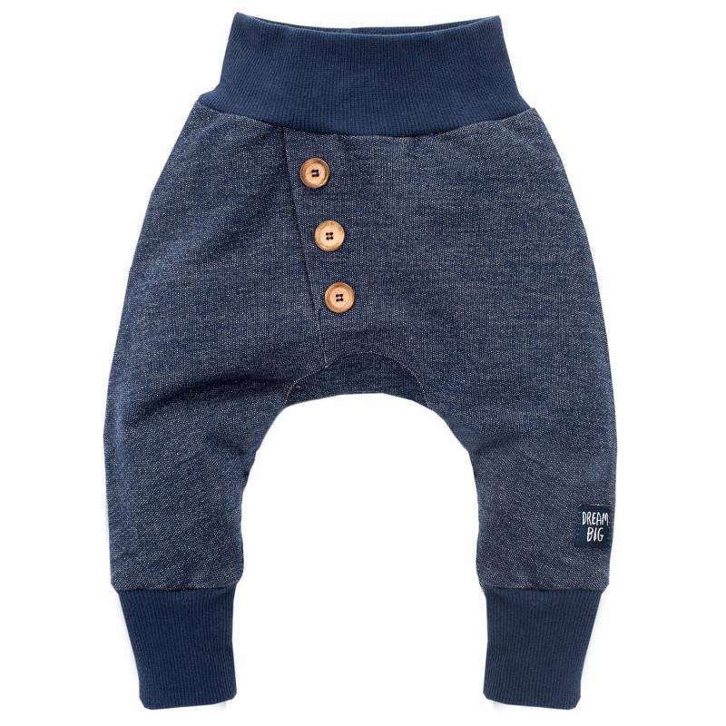 Pantaloni albastru închis cu o bandă elastică largă pentru un băiat  697