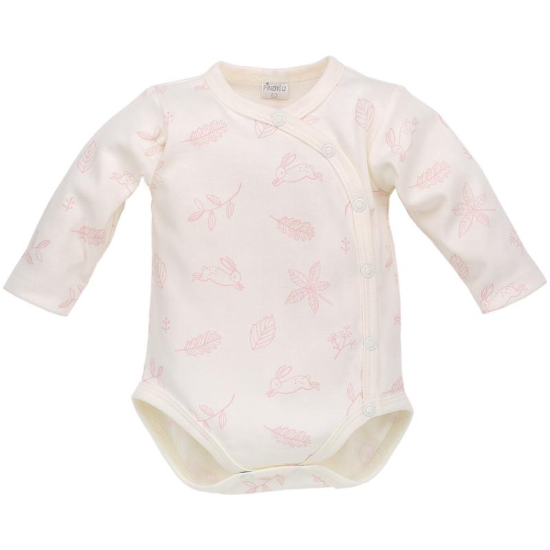 Body de bumbac cu mâneci lungi și imprimeu roz delicat pentru fetițe  700