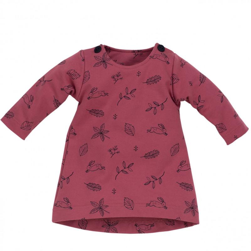 Rochie cu mâneci lungi și un imprimeu, roz închis, pentru fete  715
