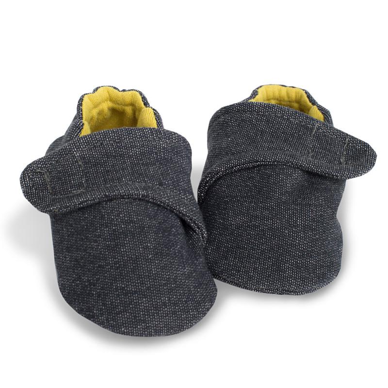 Papucei moi din bumbac pentru bebeluși, cu căptușeală din bumbac galben - Unisex  721