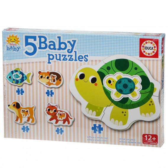 Puzzle pentru copii 5-în-1 Animăluțe mama și bebelușul Educa 74868 2