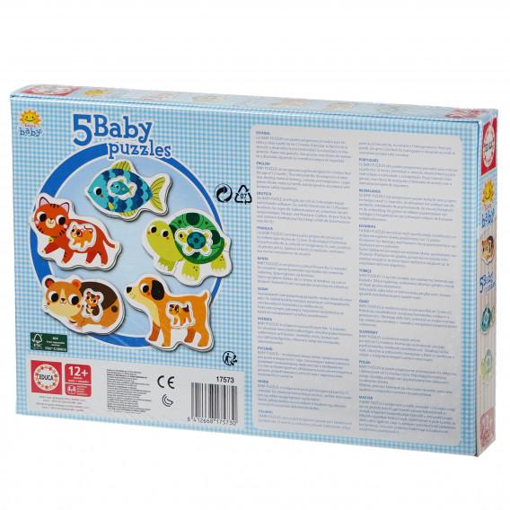 Puzzle pentru copii 5-în-1 Animăluțe mama și bebelușul Educa 74869 3