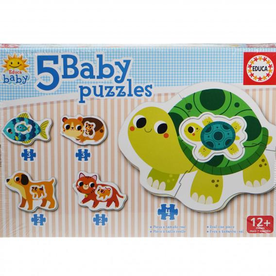 Puzzle pentru copii 5-în-1 Animăluțe mama și bebelușul Educa 74870 4