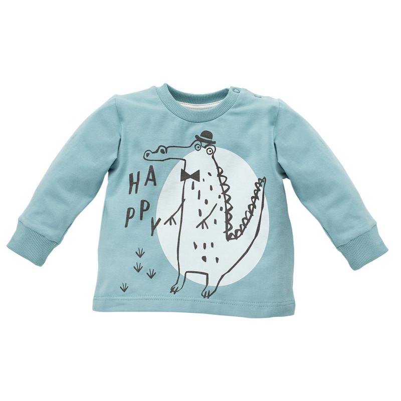 Bluză din bumbac cu mâneci lungi și imprimeu din crocodil pentru bebeluș - unisex  770