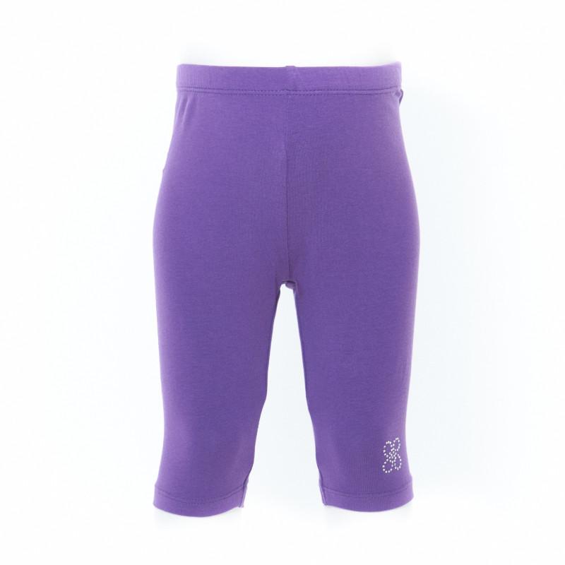Pantaloni cu decorațiune florală din ștrasuri, violet  7701