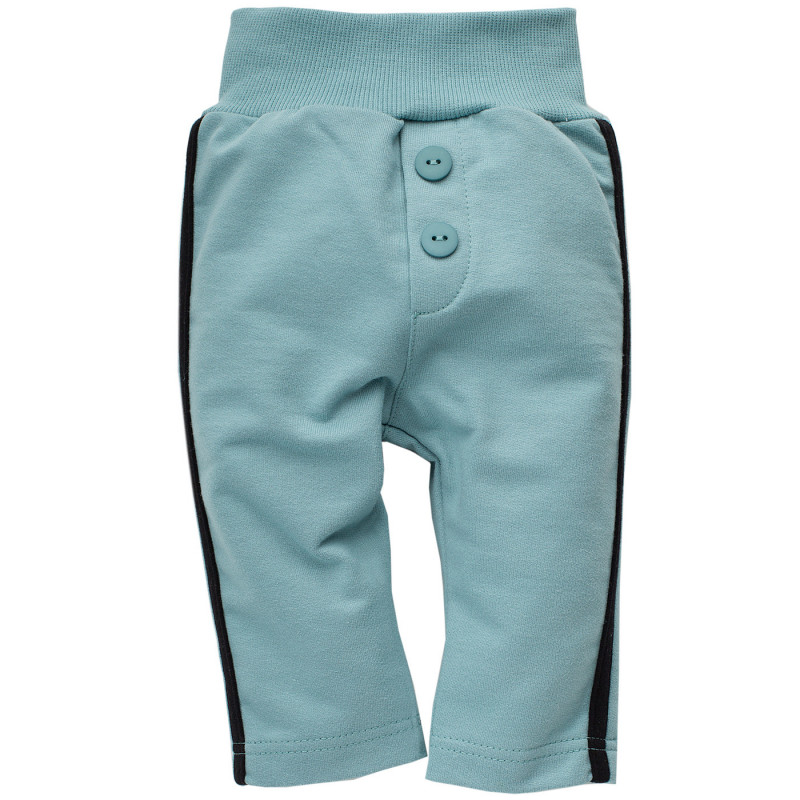 Pantaloni de bumbac cu dungă pe margine neagră pentru copii  771