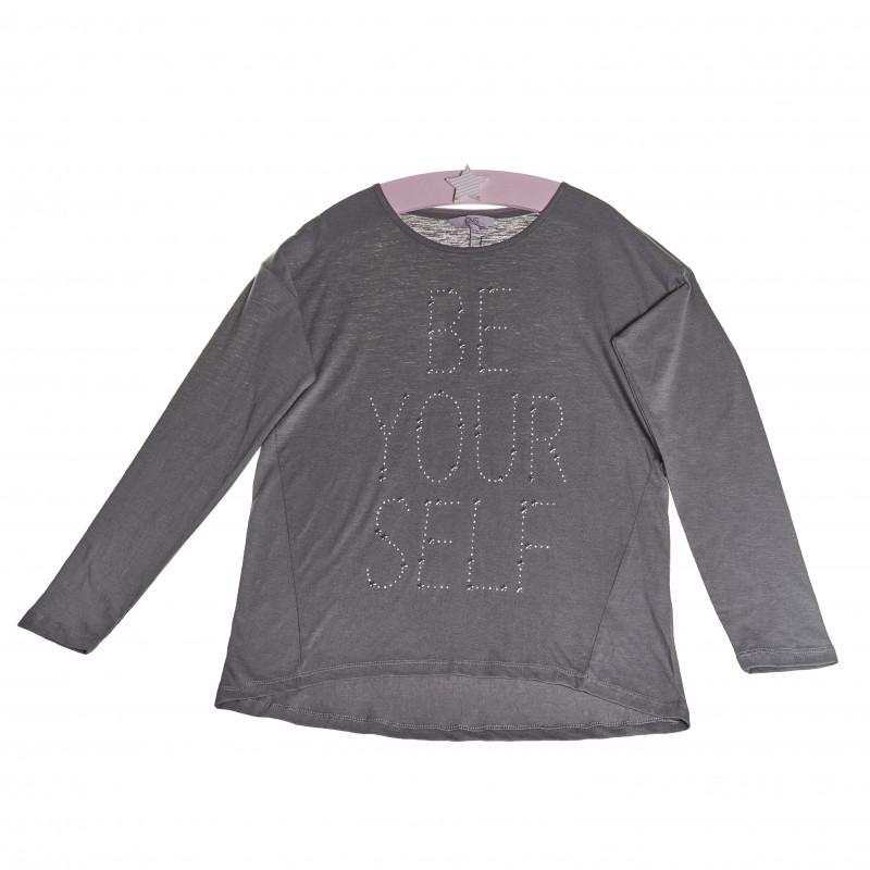 Bluză cu mâneci lungi, cu o inscripție din pietre argintii și stele pentru fete  7802
