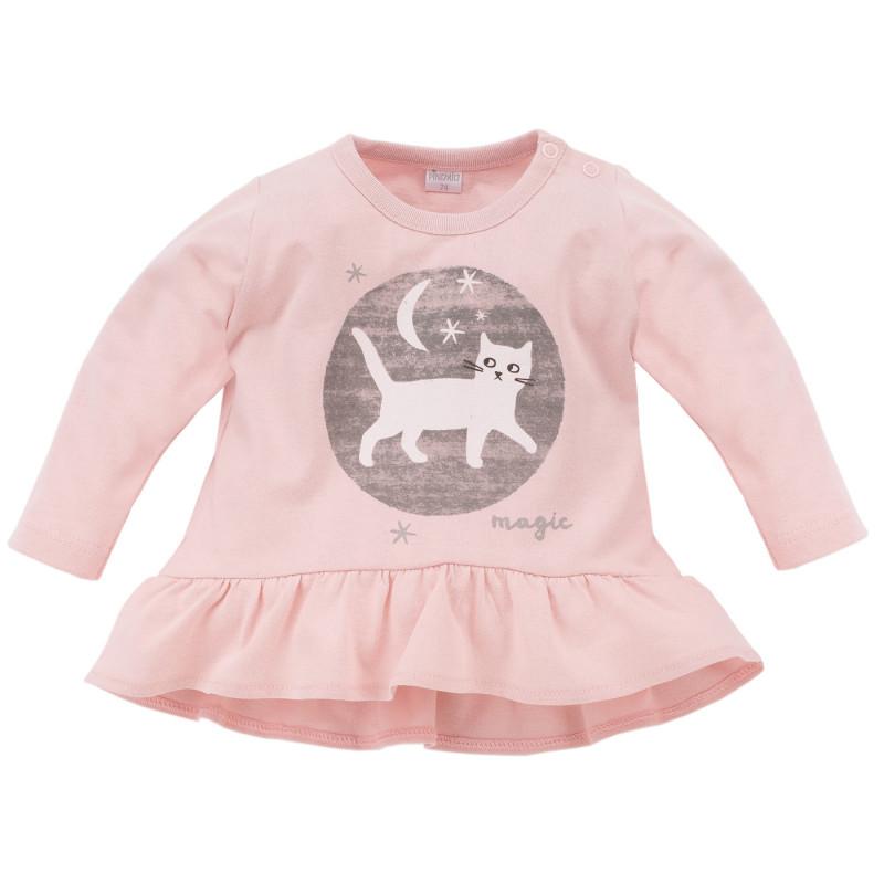 Bluză din bumbac cu mânecă lungă cu aplicație de pisoi pentru fetițe  782