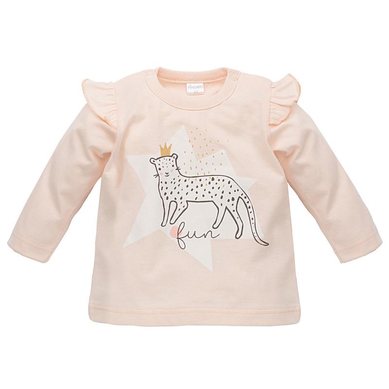 Bluză de bumbac pentru fetițe cu mâneci lungi și bucle pe umeri  816
