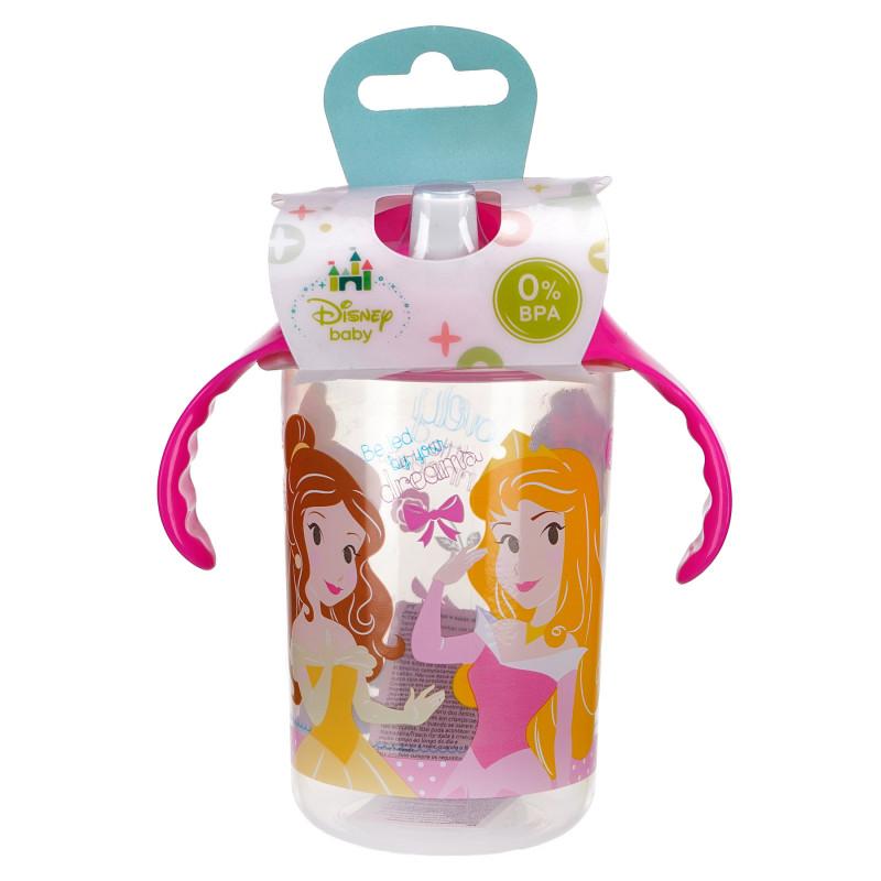 Pahar cu mânere roz și duză de băut, 10+ luni, cu prințesă  81755