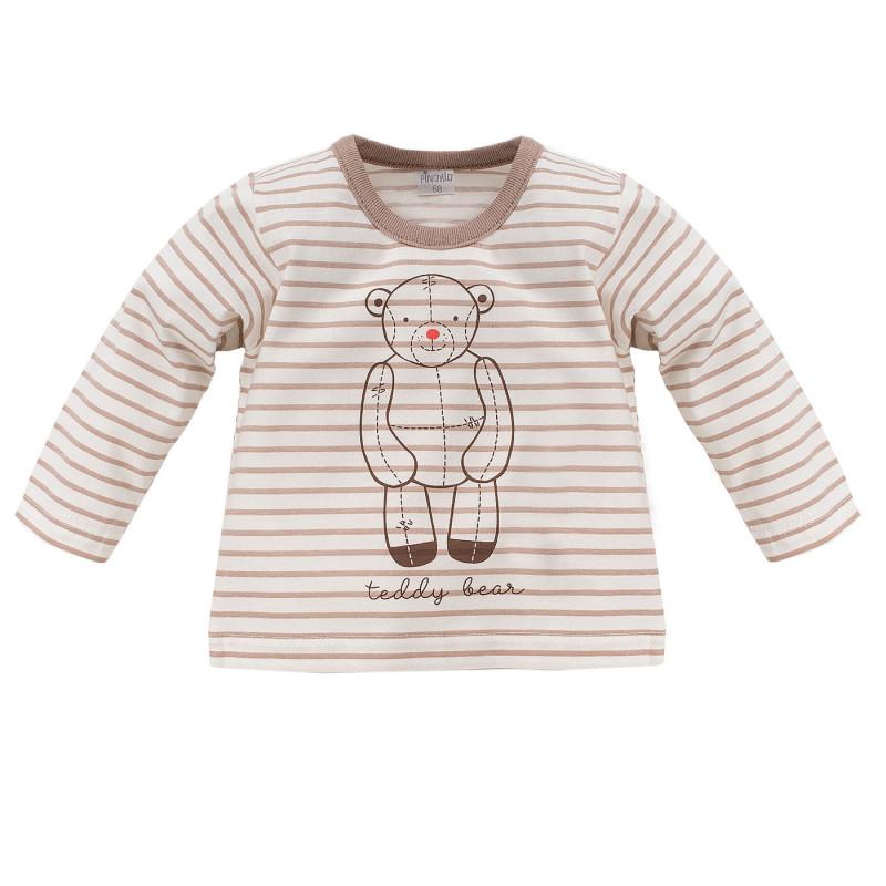 Bluză unisex pentru copii din bumbac, cu mâneci lungi și dungi, de culoare bej  834