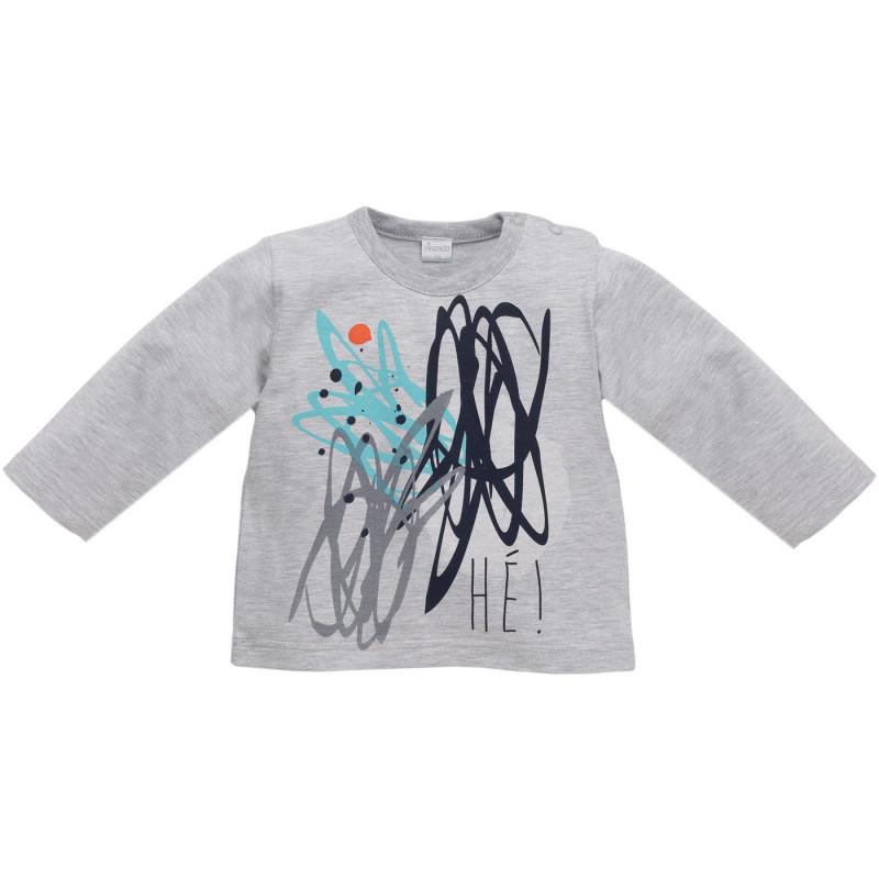 Bluză din bumbac cu mâneci lungi, cu imprimeu pentru copii, gri  850