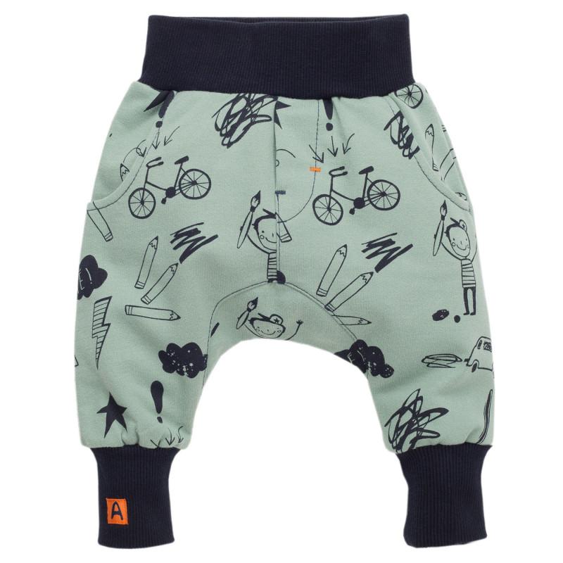 Pantaloni cu imprimeu și manșete elastice late pentru băieți  855