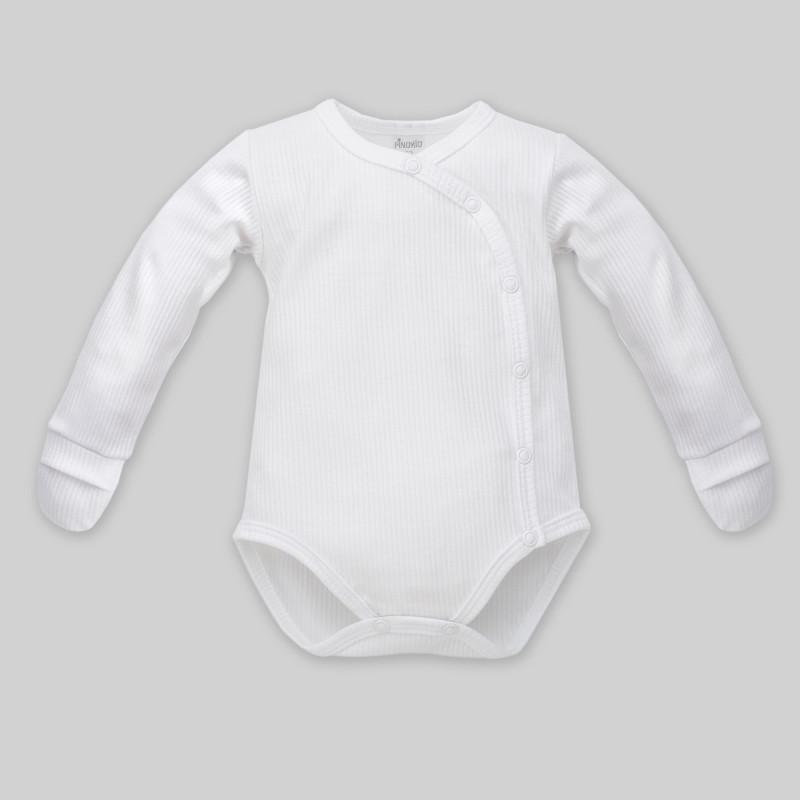 Body de bumbac cu mâneci lungi și mănuși pentru copii - unisex  860
