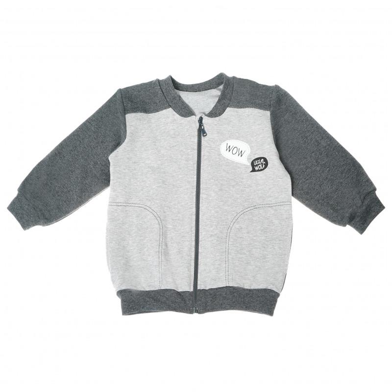 Pulover de bumbac pentru copii băieți, culoare gri  87696