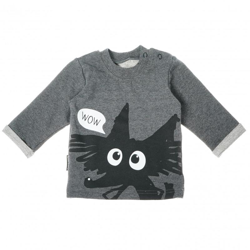 Bluză din bumbac cu mâneci lungi și imprimeu negru pentru bebeluș - unisex  87711