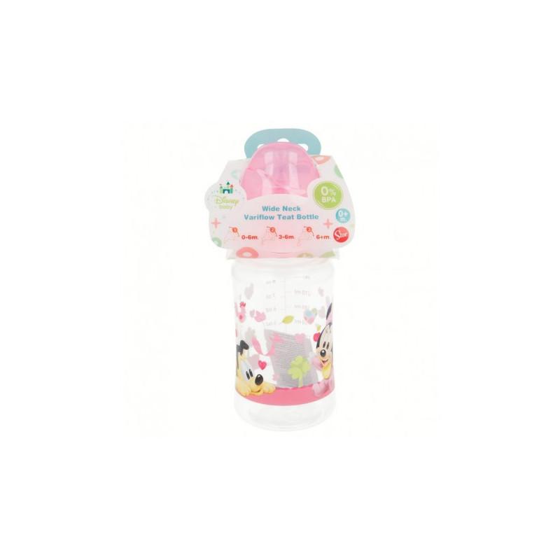 Biberon din polipropilenă Minnie Mouse, cu tetină cu 2 picături, 0+ luni, 240 ml, culoare: roz  8780