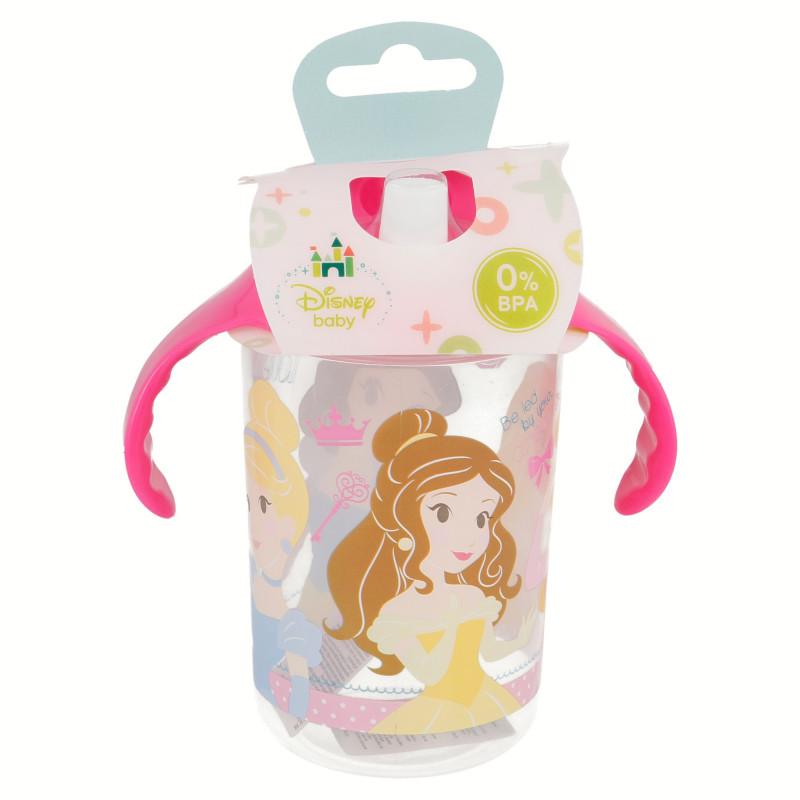 Cană cu mânere roz și duză albă cu imagine prințesă  8818