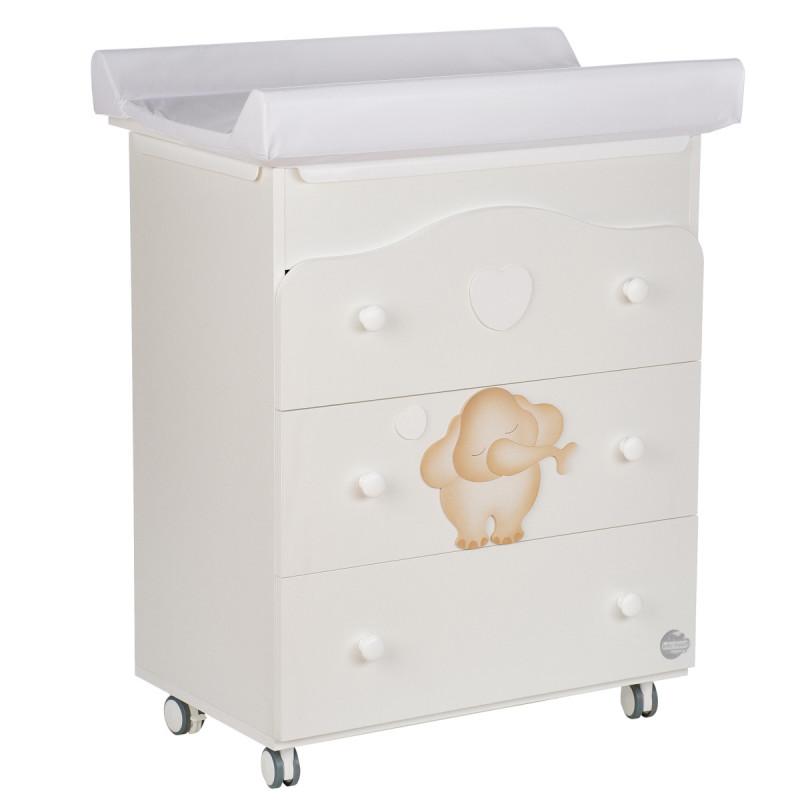 Comodă cu baie și masă de schimb - cu elefant fericit Baby Expert 88227