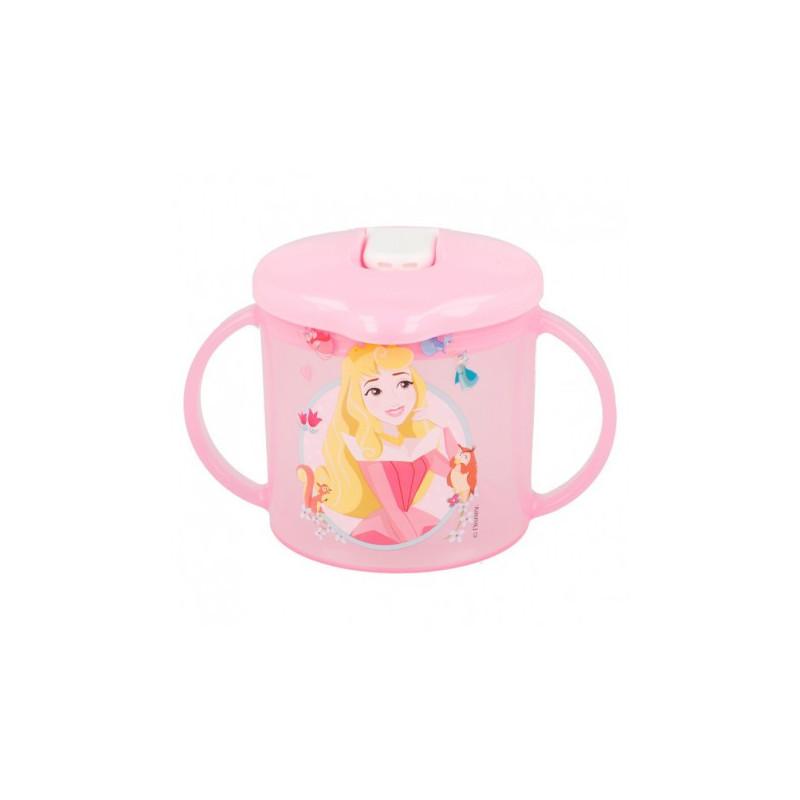 Cană cu mânere și duză, model prințesă roz  8836