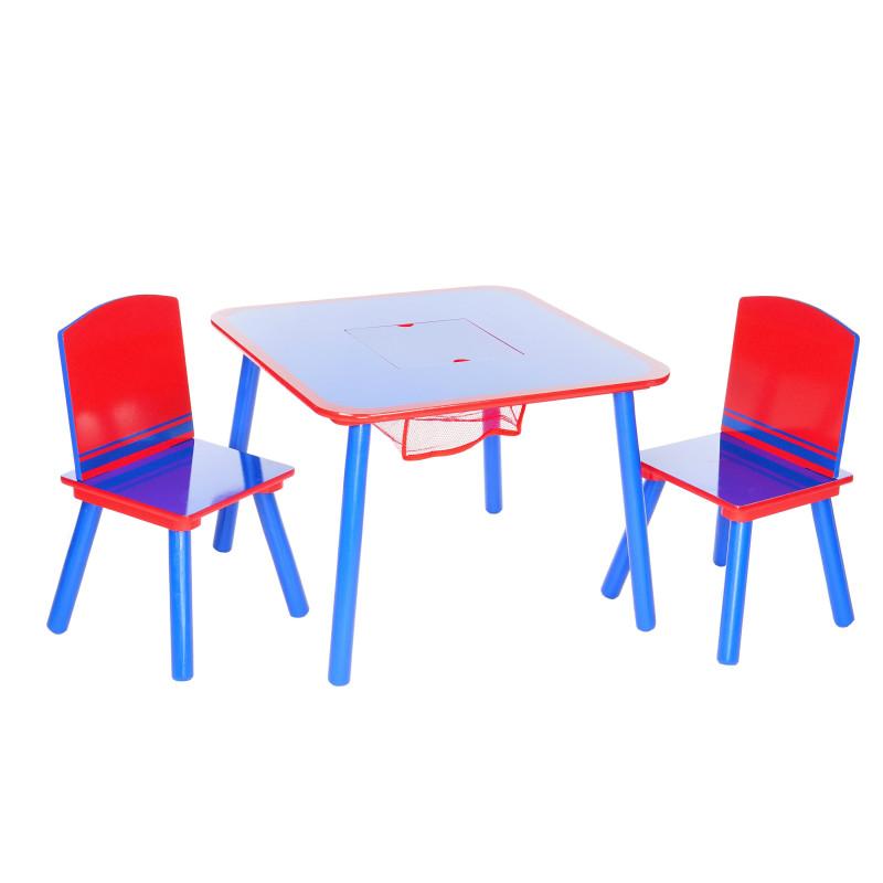 Set de masă și 2 scaune albastru-roșu  92790