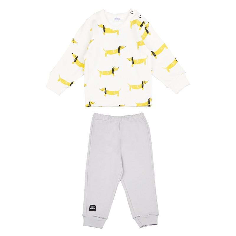 Pijama din bumbac cu mâneci lungi și un imprimeu vesel - unisex  94485