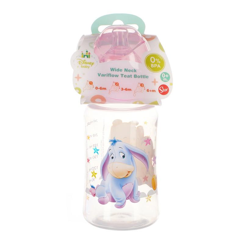 Sticlă cu gât larg 240 ml de bebeluși, cu tetină din silicon, cu imagine WINNIE PINK READY TO PLAY  95292