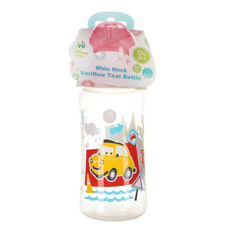 Sticlă cu gât larg 360 ml de bebeluși, cu tetină din silicon, cu imagine CARS ROUND THE BLOCK  95318