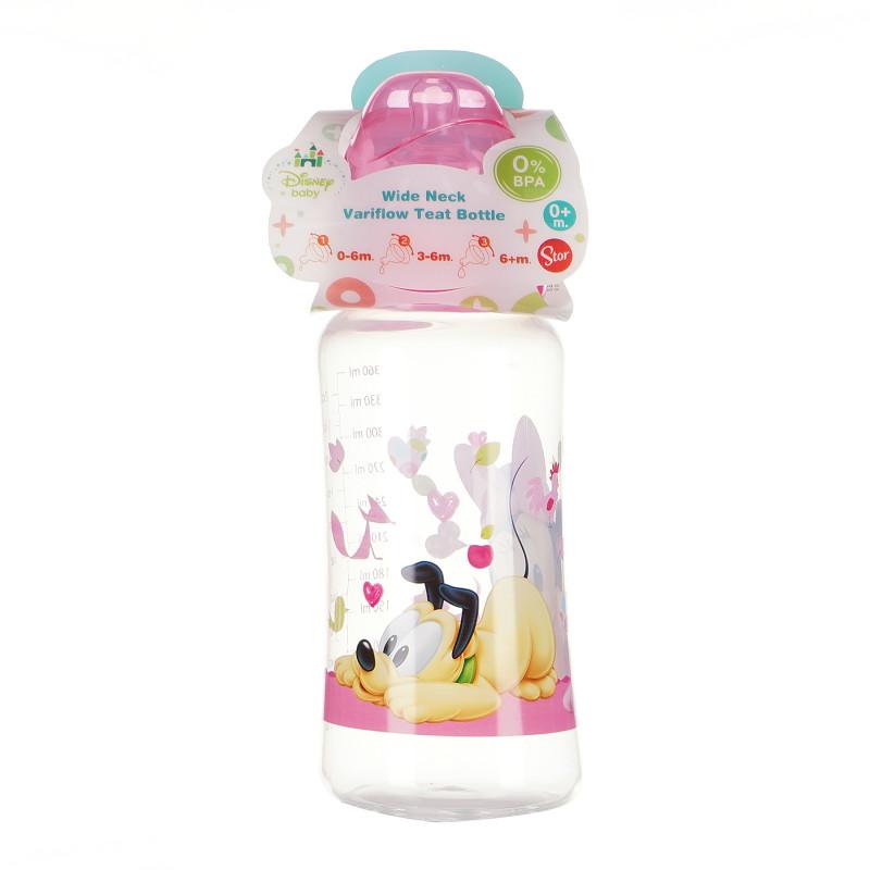 Biberon din polipropilenă Minnie Mouse, cu tetină cu 3 picături, 0+ luni, 360 ml, culoare: roz  95330