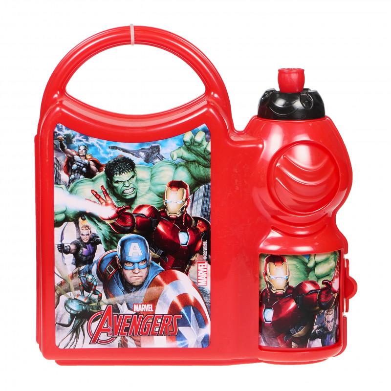 Set - sticlă de sport pentru lichide și cutie de sandwich cu imagine Avengers  95481