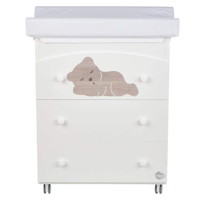 Comodă cu cadă și loc pentru schimbare - cu urs visător care doarme  97607