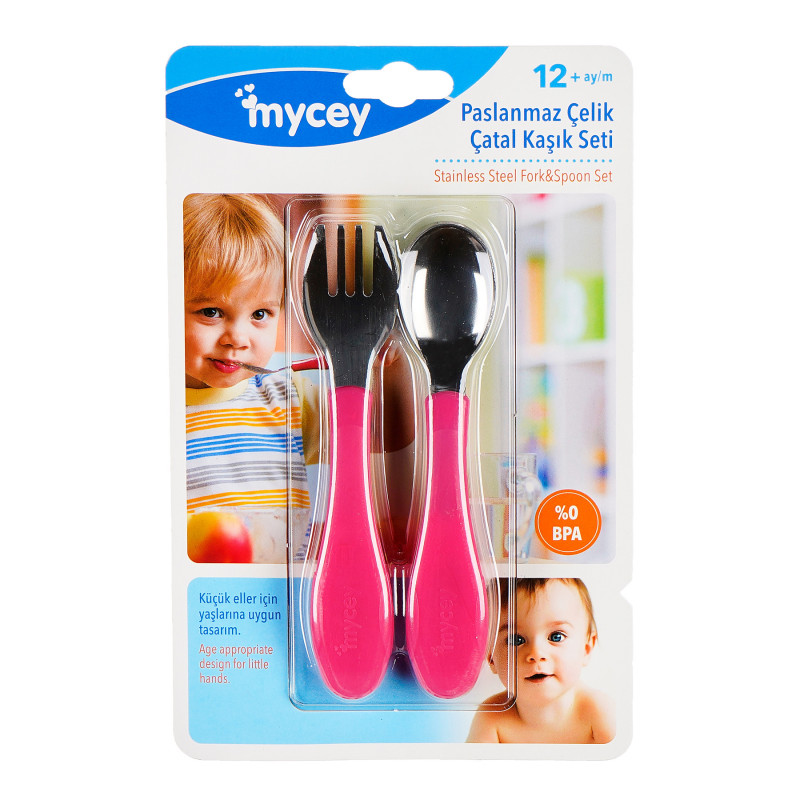 Set de lingură și furculiță, roz  97705
